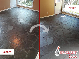 Before and after Picture of a Stone Cleaning Service in Dallas, TX