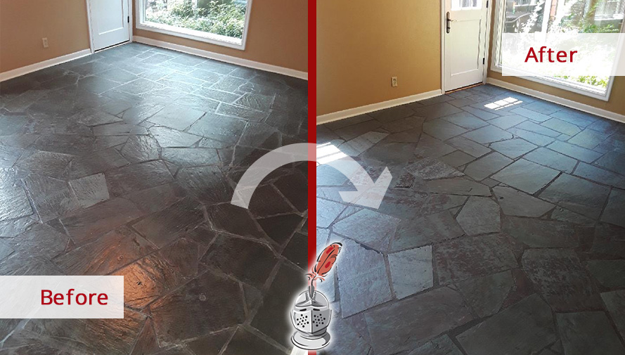 Before and after Picture of This Slate Floor after a Stone Cleaning Job in Dallas, TX