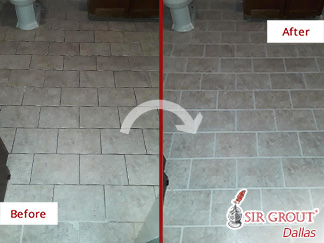 Before and After Picture of a Bathroom Floor Grout Cleaning Service in Dallas, Texas