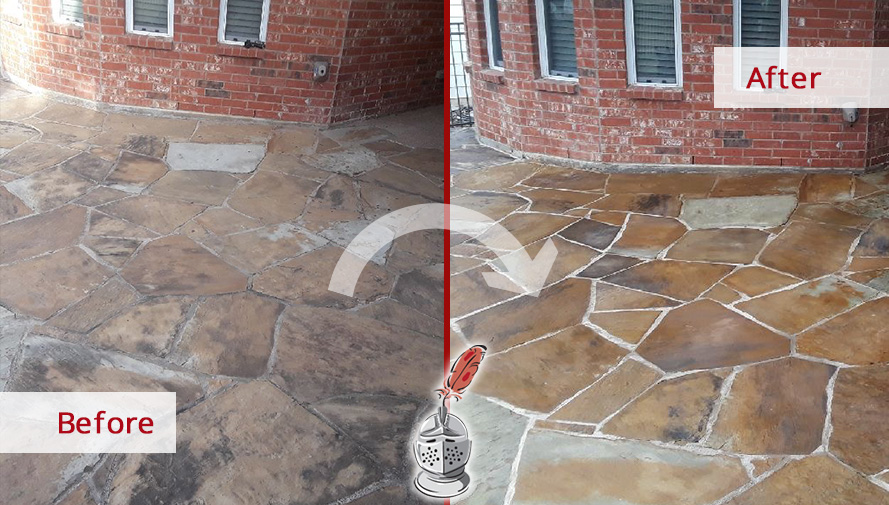 Picture of a Floor Before and After a Stone Cleaning Service in Dallas, TX