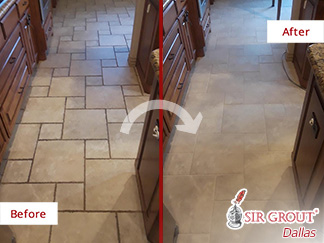 Kitchen Tile Floor Before and After Our Grout Cleaning Service in Dallas, TX