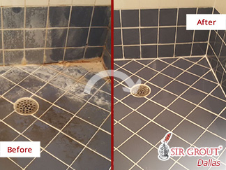 Before and After Picture of a Tile Cleaning Job in Dallas, TX