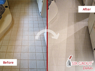Before and After Picture of a Grout Cleaning Job in Dallas, TX