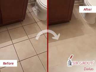 Bathroom Floor Before and After Grout Sealing in Dallas, TX