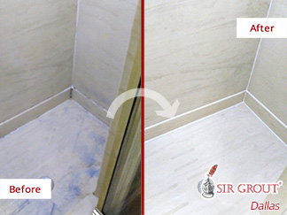 Before and After Image of a Grout Sealing Service in Dallas, Tx