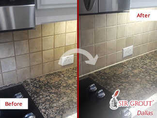 Before and After Image of a Kitchen Wall After a Grout Cleaning in Dallas, TX