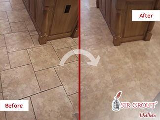 Image of a Tile Floor Before and After a Grout Cleaning in Dallas,TX