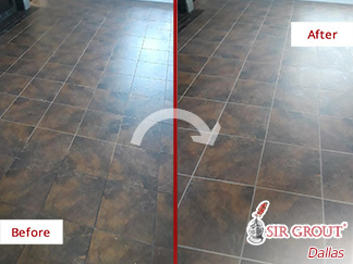 Image of a Floor After an Outstanding Grout Sealing in Plano, TX