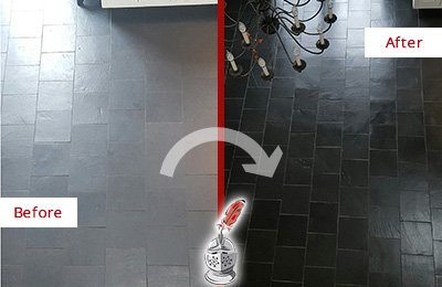 Before and After Picture of a Dull Slate Kitchen Floor Cleaned and Color Enhanced to Recover Its Color