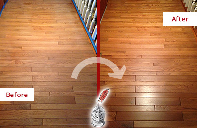 Before and After Picture of a Garland Wood Sand Free Refinishing Service on a Dull Hallway