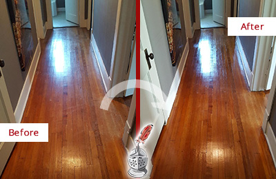 Before and After Picture of a Garland Wood Sand Free Refinishing Service on a Floor to Eliminate Scratches