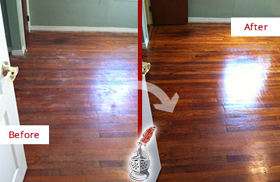 Before and After Picture of a Garland Wood Sand Free Refinishing Service on a Dull Floor to Remove Stains