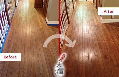Before and After Picture of a Garland Wood Sand Free Refinishing Service on a Worn Out Floor