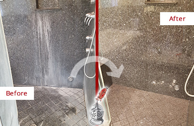 Before and After Picture of a Granite Shower with Mineral Deposits Cleaned and Sealed