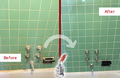 Picture of a Green Tile Bathroom with Damaged Caulking Before and After Picture a Tub Recaulking on the Tub Joints