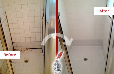 Before and After Picture of a Caulking on this Shower's Wall Joints