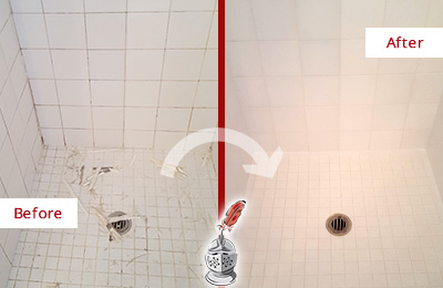 Before and After Picture of a Shower Floor Regrouted
