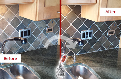 Picture of a Slate Backsplash with Damaged Caulking Before and After a Caulking Service