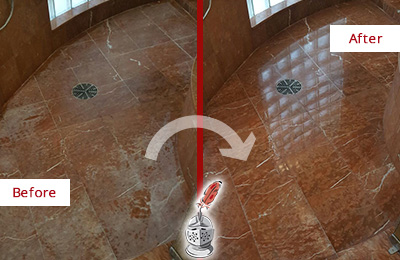 Before and After Picture of a Red Marble Shower Floor with Mineral Deposits Honed and Polished