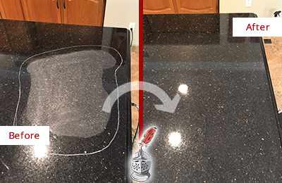 Before and After Picture of Black Scratched Granite Countertop Honed and Polished