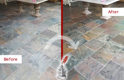 Before and After Picture of Worn-Out Slate Floor Cleaned and Sealed to Look Like New
