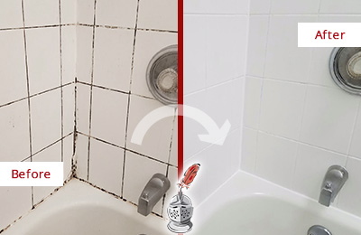Before and After Picture of a Royse City Shower Tile and Grout Cleaned to Eliminate Mold