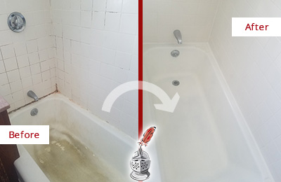 Before and After Picture of a Wylie Bathtub Caulked to Repair Cracks
