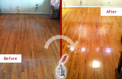Before and After Picture of a DeSoto Wood Sandless Refinishing Service on a Stained Floor