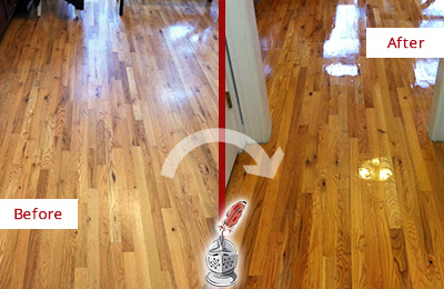 Before and After Picture of a DeSoto Wood Sandless Refinishing Service on a Worn Out Hallway