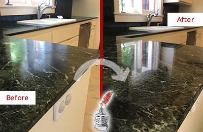 Before and After Picture of a BlueMound Marble Stone Counter Polished to Eliminate Water Marks