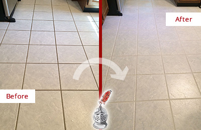 Before and After Picture of a Weston Kitchen Ceramic Floor Sealed to Protect From Dirt and Spills