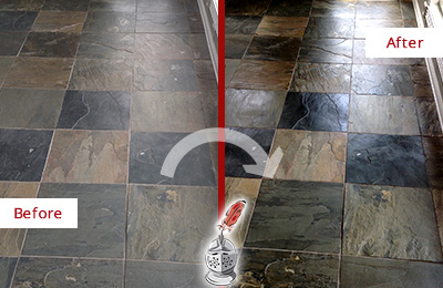 Before and After Picture of a Dull Argyle Slate Floor Sealed to Bring Back Its Colors