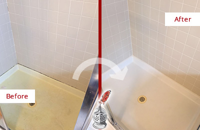 Before and After Picture of a Argyle Shower Sealed to Remove and Protect Against Mold