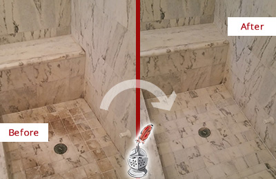 Before and After Picture of a Dirty Anna Marble Shower Cleaned to Eliminate Dark Stains