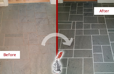 Before and After Picture of a Addison Slate Floor Cleaned to Remove Deep-Seated Dirt