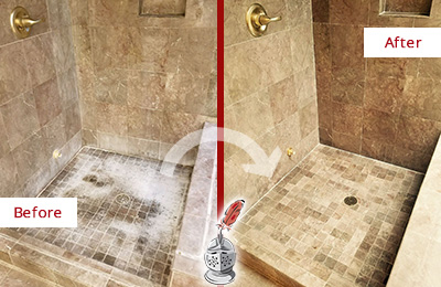 Before and After Picture of a Fairview Travertine Shower Cleaned to Eliminate Water Spots