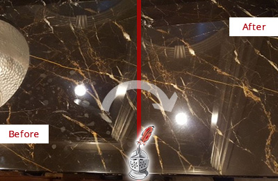Before and After Picture of a Fairview Marble Countertop Cleaned to Remove Water Spots