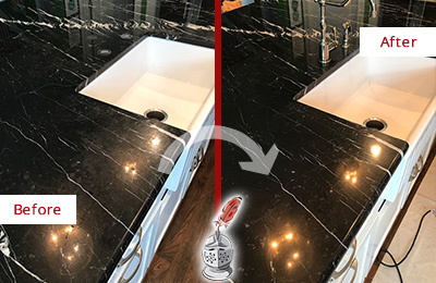 Before and After Picture of a Bedford Marble Kitchen Countertop Stone Sealed to Avoid Water Damage