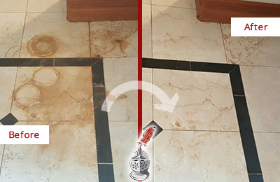 Before and After Picture of a Burleson Hard Surface Restoration Service on a Marble Floor to Eliminate Rust Stains
