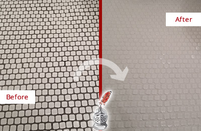 Before and After Picture of a Prosper Hard Surface Restoration Service on a Bathroom Tile Floor Recolored to Fix Grout Color