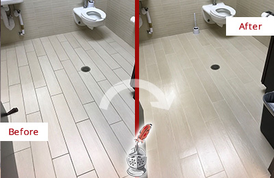 Before and After Picture of a Parker Office Restroom's Grout Cleaned to Remove Dirt