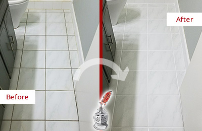 Before and After Picture of a Edgecliff Village Bathroom Floor Grout Sealed to Remove Grime
