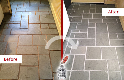 Before and After Picture of Damaged Celina Slate Floor with Sealed Grout