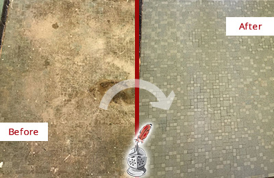 Before and After Picture of a Fate Mosaic Shower Cleaned to Eliminate Embedded Dirt