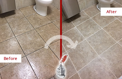 Before and After Picture of a Fate Restroom Floor Cleaned to Eliminate Dirt