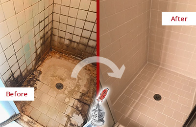 Before and After Picture of a Fate Ceramic Shower Cleaned to Remove Grime