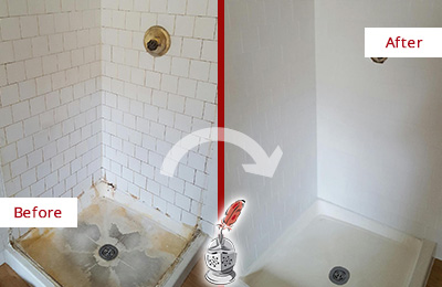 Before and After Picture of a Fate Shower Cleaned to Eliminate Mold