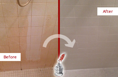 Before and After Picture of a Fate Porcelaine Shower Cleaned to Remove Soap Scum