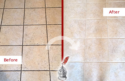 Before and After Picture of a Fate Ceramic Floor Cleaned to Remove Soil